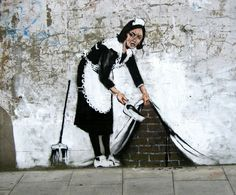 Beautiful Street Crimes: Maid in London by BANKSY.... Banksy is a quasi-anonymous English graffiti artist.  He's gone from a teenage tagger to a well-known artist making multi-million dollar art. His style and message have, ironically, been wholeheartedly embraced by the very type of people he mocks.... One of my favorite street artists!