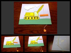 """Construction Crane craft. I couldn't find the construction craft that I was looking for so I created this. With a straw taped to the back and the string pulled through the front, children can """"operate"""" the crane! I love art that doubles as a toy! Hope the idea comes through in the pictures"""