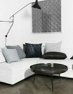 Bynord - living room, white corner sofa, overhang lamp