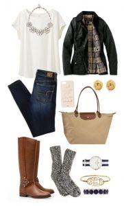 #fall #outfits / Green Jacket + Tall Boots