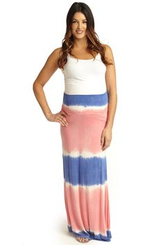 Coral-Periwinkle-Tie-Dye-Print-Maternity-Maxi-Skirt