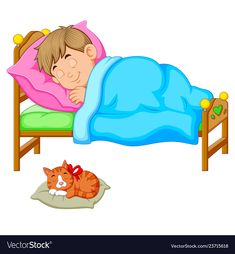 Sleeping boy in bed with a kitten Royalty Free Vector Image Study Pictures, Cute Pictures, Adobe Illustrator, Sleeping Boy, Sleeping Kitten, Sunday School Crafts For Kids, Good Night Greetings, Martial Arts Techniques, Education Icon