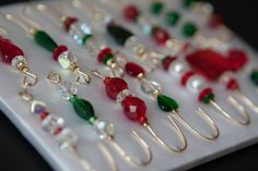I love these Christmas Beaded Ornament Hanger Hooks.  Red and by JustHangOn $17.00