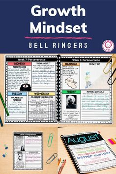 This 319 page pack contains 50 weeks worth of bell ringer or morning work activities for your students to complete daily. There are 155 pages in color, 155 pages in black and white, and 9 editable pages to create your own pages. A Spanish version of every page has also been included to meet your needs. You will also receive 155 digital pages to use in Google Drive. There is also a digital version to use inside Google Classrooms! This resource is perfect for 2nd-5th! #growthmindset… Growth Mindset Activities, Growth Mindset Quotes, Quick Print, Bell Ringers, 4th Grade Classroom, School Calendar, Mindfulness Activities, Work Activities, Morning Work