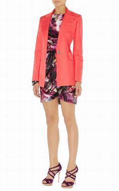 cape coat uk-Karen Millen Jn014 Colourful Tailored Jacket Coral :