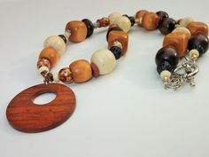 Chunky Brown Necklace Pendant Necklace Earth Tone by mscenna, $16.00