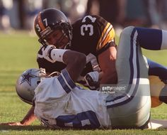 Cornerback Carnell Lake of the Pittsburgh Steelers shouts at wide receiver Michael Irvin after knocking the ball away from him during the first quarter of the Steelers game versus the Cowboys in Super Bowl XXX at Sun Devil Stadium in Tempe,