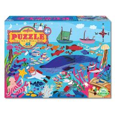 Super imaginative and amazingly illustrated, this eeBoo's 42 piece jigsaw recreates a sea life from the bottom of the ocean to its surface!