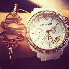 Arm Candy  #pinoftheday #aotd #ootd #fashion #style #monogram #michaelkors #marleylilly #watch #bracelet @Marley Medema Lilly  @Michael Dussert Kors - Midwest Prep www.midwest-prep.com