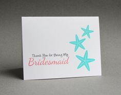 Starfish Bridesmaid Card/ Beach Wedding Thank You Card by #patternedpomegranate