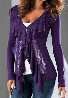 Purple Patchwork Lace Ruffle Plunging Neckline Long Sleeve Blouse