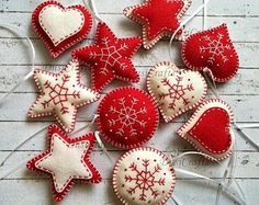 Felt christmas ornaments, classic Christmas decoration, red white decoration, heart star traditional ornaments, embroidered snowflake decor
