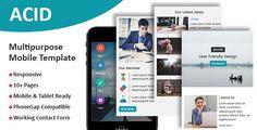 ACID - Multipurpose Responsive Mobile Template - Mobile Site Templates #mobileresponsivewebsite Html Website Templates, Template Site, Psd Templates, Business Templates, Blogger Templates, Mobile Responsive, Responsive Layout, Simple Website, Free Website