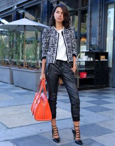 tweed jacket with leather joggers