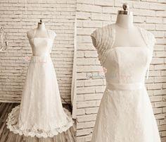 Lace Wedding Dress, Bolero Jacket, Bridal Dress, Bridal Jacket, Lace Fabric Dress, Satin Long Dress, Simple Wedding Dress by beaubouquet on Etsy https://www.etsy.com/listing/223334096/lace-wedding-dress-bolero-jacket-bridal