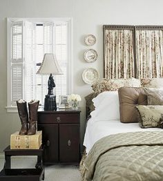 Guest Bedroom. I like the idea of the riding boots sitting on top of wicker suitcases, I could do this!