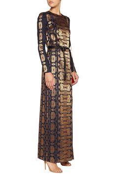 Tory Burch Metallic jacquard gown