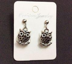Cute owl woman jewelry stud silver earring #Handmade #Stud