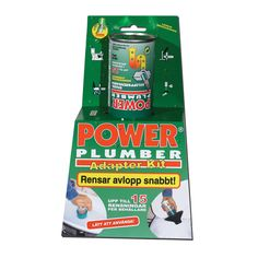 Power Plumber Kit POWER PLUMBER består av en miljövänlig gas som expanderar vid kontakt med vatten. En stående våg bildas som sköljer rent rören upp till