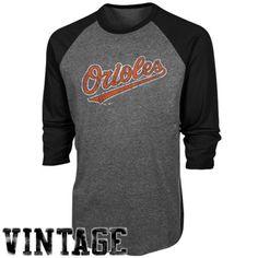 Majestic Threads Baltimore Orioles Cooperstown Grand Slam Tri-Blend Three-Quarter Sleeve Raglan T-Shirt - Charcoal/Black