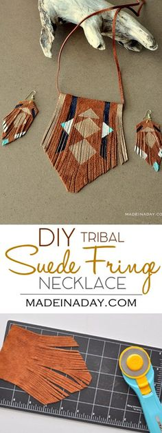 DIY Bohemian Suede Fringe Necklace, I whipped up this simple suede necklace this weekend. Let me show you how to make your own! leather jewelry, bohemian necklace, boho necklace, painted leather, tribal necklace, Geometric painted leather jewelry via @madeinaday