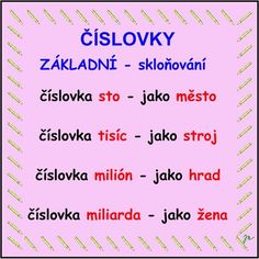 SKLOŇOVÁNÍ ČÍSLOVEK :: Béčko-Tc Federal Parks, Georgia State Parks, Teaching Posts, Homemade Bath Bombs, Creative Advertising, Montessori, Homeschool, Language, Education