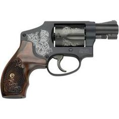 S&W Model 442 Revolver .38 Special 1.87 Barrel 5 Rounds Aluminum Frame Wood Grips Machine Engraved Matte Black with Mahogany Presentation Case 150758