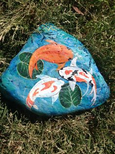 Koi in Pond ~ Hand Painted on River Rock ~ Garden, Pond or Home Accent ~ Good Luck