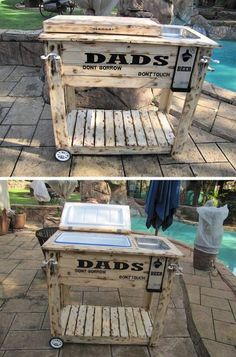 Pallet Outdoor Furniture pallet bar table ideas for outdoor pool - Pallet bars are a nice way to include a bar outside your home or in your patio. It creates a theme that gives a warm look for your outdoor area. Diy Outdoor Furniture, Diy Pallet Furniture, Diy Pallet Projects, Bar Furniture, Pallet Ideas, Wood Projects, Antique Furniture, Pallet Bar Plans, Modern Furniture