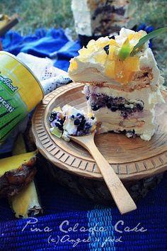 Angel's food: Tort de bezea Pina Colada,cu afine si crema de cocos Doritos, Acai Bowl, Foodies, Breakfast, Coconut Cream, Pina Colada, Tarts, Pineapple, Sweetie Cake