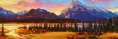 Rundle at Dawn, by David Langevin Old Master, Landscape Paintings, Wilderness, Fields, Dawn, Original Paintings, Archive, My Arts, Mountains