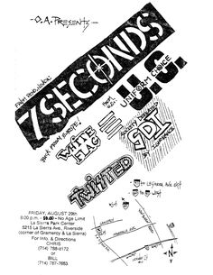White Flag, Chicano, 7 Seconds, Age, Flyers, 1980s, Music, Punk Rock, Musica