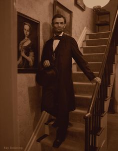 Abraham Lincoln comes to life walking down the stairs of his home/A virtual recreation of the real Abe Lincoln after years of work, in the documentary Stealing Lincoln's Body. It really looks like him moving!