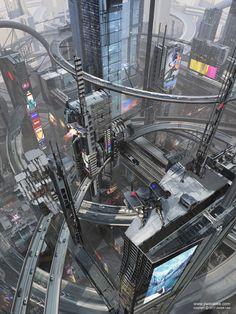 Stardust Wanderer — st-just: Neo-Seoul by Jiwook Lee Cyberpunk City, Cyberpunk Kunst, Cyberpunk Aesthetic, Futuristic City, Futuristic Architecture, Fantasy City, Fantasy Places, City Landscape, Fantasy Landscape