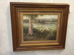 """Vintage Homco Home Interiors """"Girl Shepard With Sheep"""" Framed Print, Little Bo Peep Vintage Walls, Vintage Prints, Home Interior Catalog, Wooden Display Cabinets, Home Interiors And Gifts, Little Bo Peep, Decorative Items, Sheep, Beautiful Pictures"""