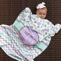 Replace purple w/ pink and it would be perfect!!!!!!!    Babys Girls Multi Dot Chevron Circle Initial Minky Blanket – Lolly Wolly Doodle