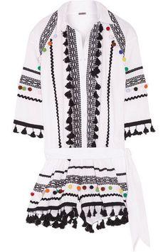 Dodo Bar Or - Embellished Embroidered Cotton-gauze Playsuit - White - medium