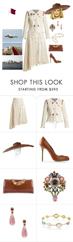 """King Nicolas and Queen Rose depart with the royal plane from Qatar to the Enchanted Kingdom after a three day state visit to Middle East"" by hm-queen-rose ❤ liked on Polyvore featuring Altuzarra, Adrian, Sergio Rossi, Judith Leiber, Amrapali, Ippolita and Kiki mcdonough"