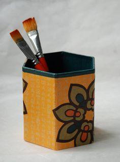 Yellow Hanji Pen Holder Pencil Case Desktop Handmade Yellow Brown Green Orange Flower Design Desk Organizer