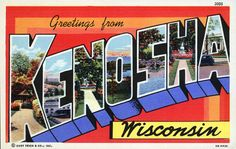 Greetings from Kenosha, Wisconsin - State signs - logos - posters - The Fifty States of America - USA - United States - America.