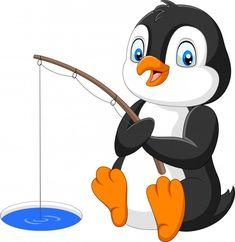 Cartoon Penguin Fishing On The Arctic Ice Stock Vector - Illustration of fisherman, antarctica: 147669972 Illustration Cartoon, Cartoon Drawings, Easy Drawings, Cute Penguin Cartoon, Arctic Ice, Nursery Stickers, Theme Pictures, Christmas Stencils, Bird Crafts
