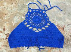Bikini de ganchillo azul por AnnAltamuraCreazioni en Etsy