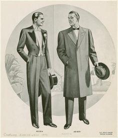 Evening wear, 1946. Tail coat featuring satin faced peak lapels.