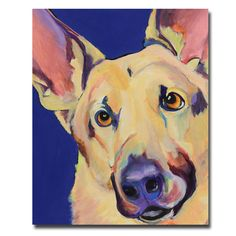Celebrate your love for animals with this colorful canvas art for sale in the Freida print by Pat Saunders-White. With its bold design and dog motif, the gallery-wrapped canvas makes a great gift or an ideal accent for any room in your home or office.