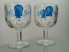 #pabst #pbr #pabstblueribbon #beer #beerglasses 2 Vintage Pabst Blue Ribbon Beer Glass Goblets PBR Logo Stemmed