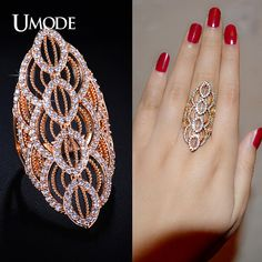 UMODE Asteria Series Filigree Leaf Shaped Micro CZ Diamond Full Finger Ring 18K Rose Gold Plated Jewelry For Women UR0192A(China (Mainland))