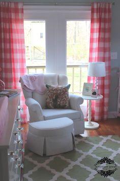 Bonjour {pale blue and pink nursery}, buffalo check drapes, Ikea Hemnes dresser, floral crib bedding