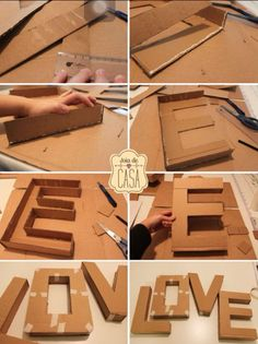 "DIY letters uploaded by gabidino on We Heart It DIY letter ""love""<br> Cardboard Letters, Diy Letters, Cardboard Crafts, Letter A Crafts, Paper Crafts, Flower Letters, Carton Diy, Diy Karton, Diy And Crafts"