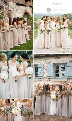neutral nude bridesmaid gowns for autumn wedding 2015 I absolutely love the navy blue and neutral ideas