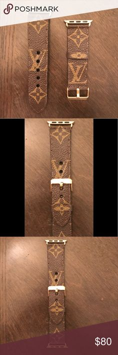 Louis Vuitton custom made Apple Watch band Custom made from authentic pre-owned Louis Vuitton pieces. All bands are completely hand stitched by a professional leather artist. Each band takes roughly 4-5 hours to make as they are handcrafted and extremely durable. We can make them in any color of buckle and connectors. We can make it for any size of wrist!:)    -NOTE- We are in no way affiliated with Louis Vuitton, we are just take pre-loved pieces and up cycling them into one amazing band…